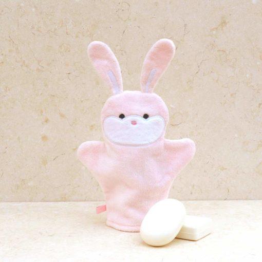 Pink Bunny Baby Bath Mitt