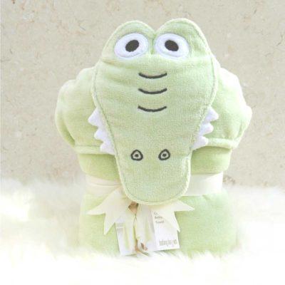 Green Crocodile Toddler Hooded Towel