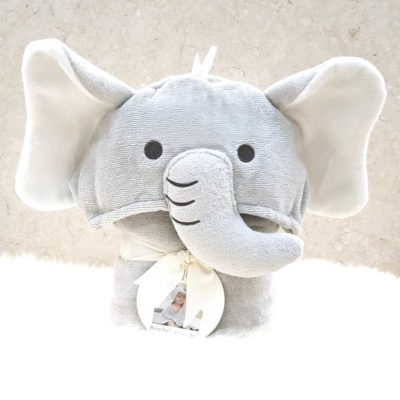 Grey Elephant Hooded Baby Towel