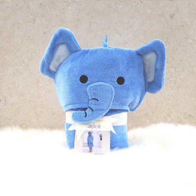 Blue Elephant Hooded Toddler Bathrobe