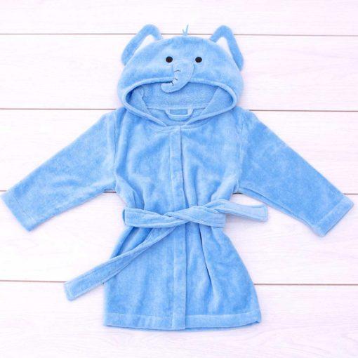 Blue Elephant Toddler Hooded Bathrobe