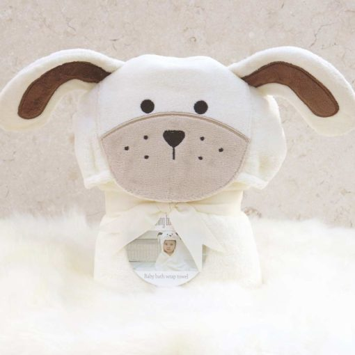 White Puppy Hooded Baby Towel