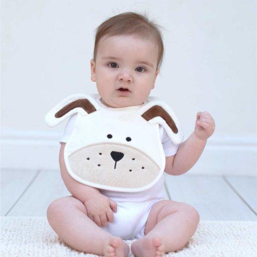 White Puppy Baby Bib