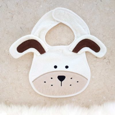 White puppy baby bib