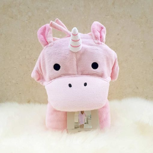 Pink Unicorn Hooded Children Towel Poncho