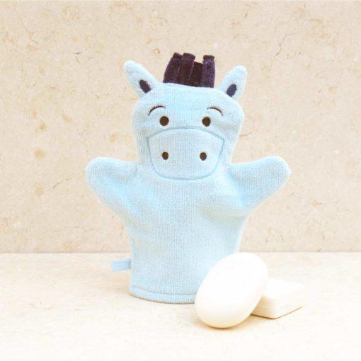 Blue Pony Baby Bath Mitt