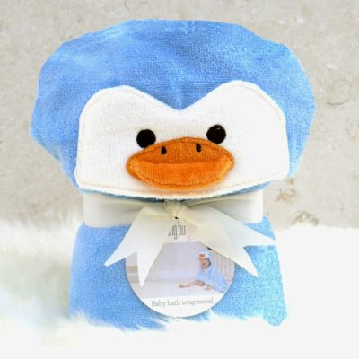 Blue Penguin Baby Hooded Towel