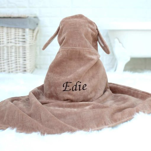 Personalised Chocolate Bunny Baby Towel