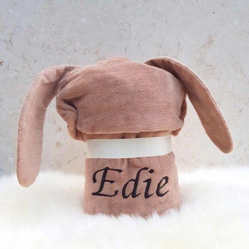 Personalised Chocolate Bunny Baby Towel