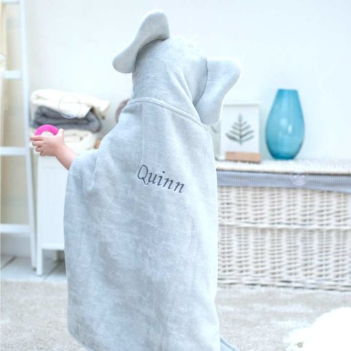 Personalised Grey Elephant Hooded Baby Towel