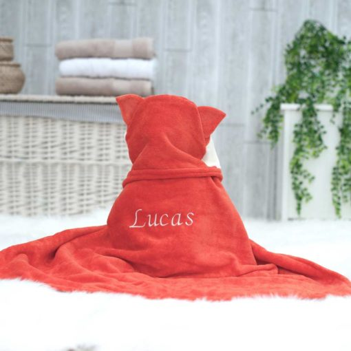Personalised Fox Hooded Baby Towel