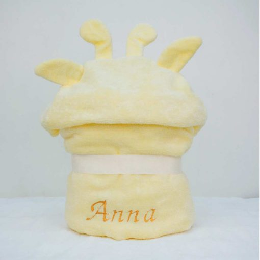 Personalised Yellow Giraffe Hooded Towel for Toddlers