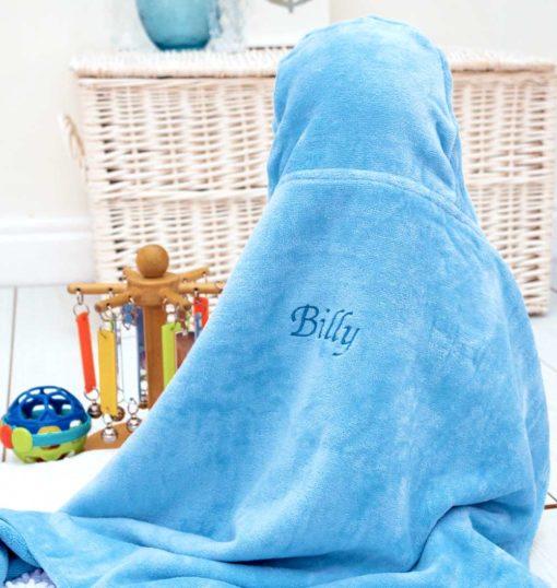 Personalised Blue Penguin Hooded Baby Towel