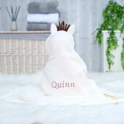 Personalised White Pony Baby Hooded Towel