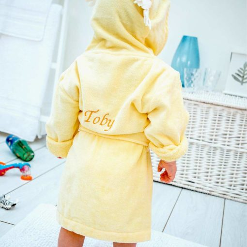 Personalised Yellow Lion Hooded Toddler Bathrobe