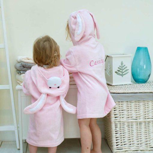 Personalised Pink Bunny Hooded Toddler Bathrobe