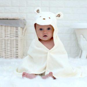 Personalised Smiley Bear Baby Towel