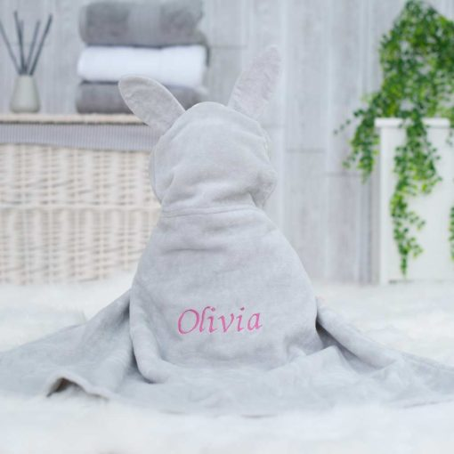 Grey Personalised Bunny Hooded Baby Bath Towel