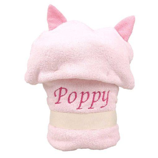 Personalised Pink Owl Baby Hooded Robe