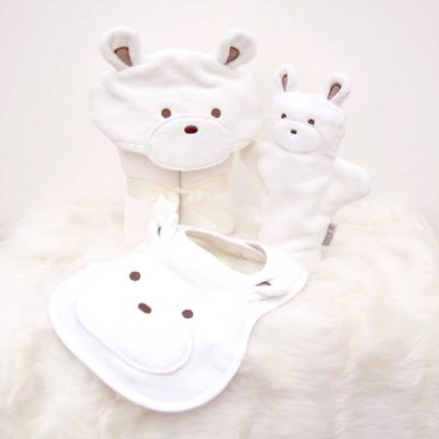 White Teddy Baby Gift Set