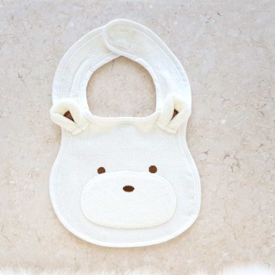White Teddy Bear Baby Bib