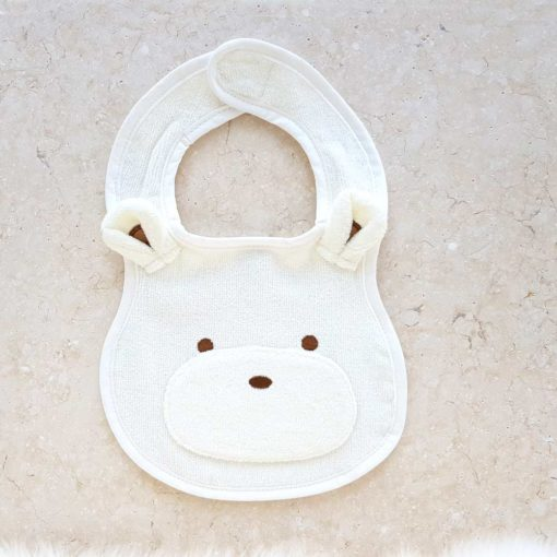 White Teddy Bear Baby Bib