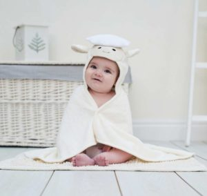 White Lamb Hooded Baby Towel