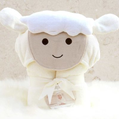 White Lamb Hooded Bath Towel for Babies
