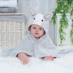 Grey Bunny Hooded Baby Bath Towel