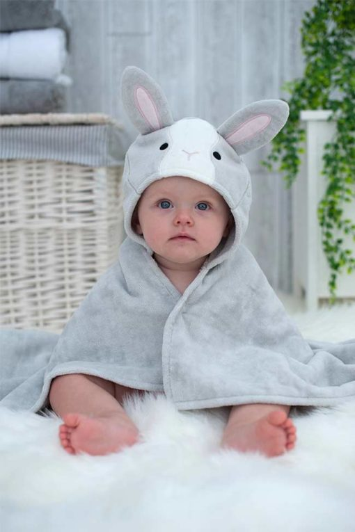 Grey Bunny Hooded Bath Baby Towel