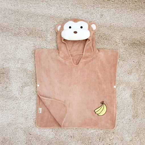 Brown Monkey Hooded Children Towel Poncho