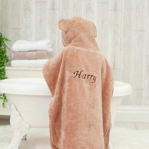 Personalised Brown Monkey Hooded Children Towel Poncho