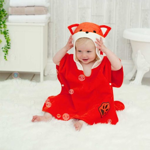Red Fox Hooded Children Towel Poncho