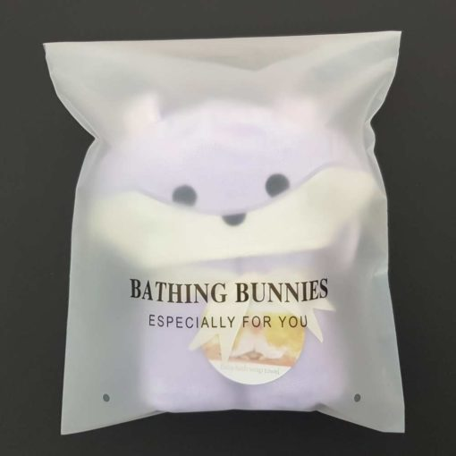 Lavender Bunny Baby Towel in standard packaging