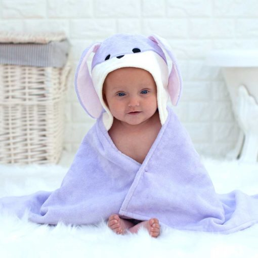 Personalised Lavender Bunny Baby Towel